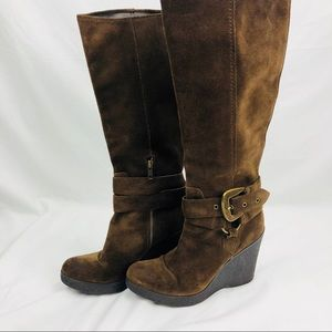Nine West R-Souza Brown Leather Tall Boots Women's